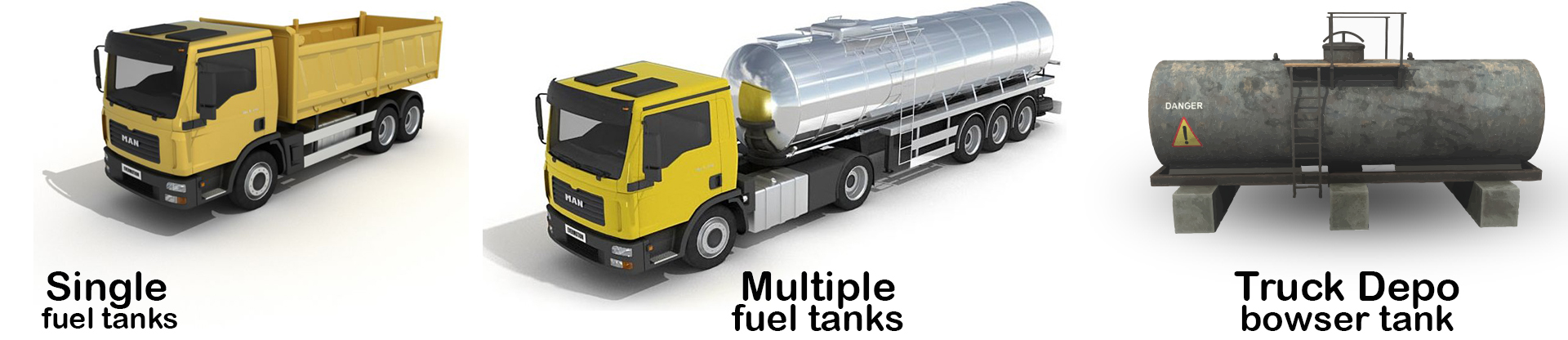 Different types of fuel tanks Digit fuel monitoring system can be installed o